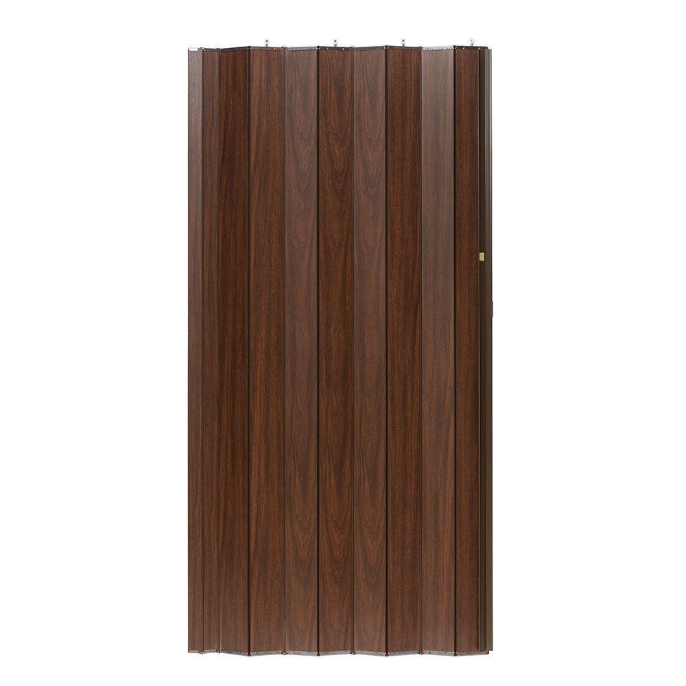 36 in. x 80 in. Woodshire Vinyl-Laminated MDF Walnut Accordion Door