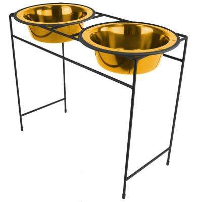 Platinum Pets Modern Double Diner Feeder with Stainless Steel Cat/Dog Bowls, 24 Karat Gold