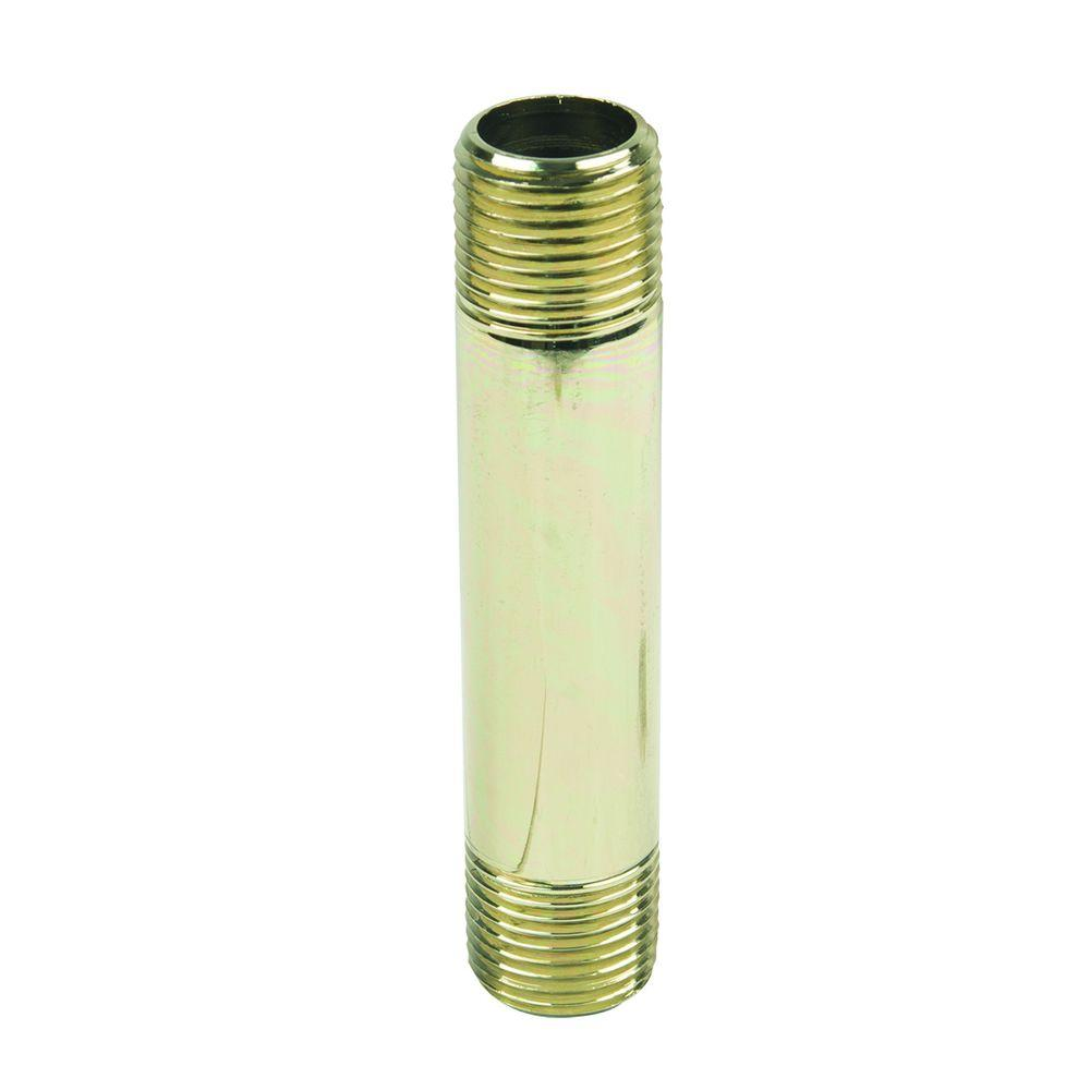 1/2 in. MIP x 4 in. Brass Pipe Nipple in Polished