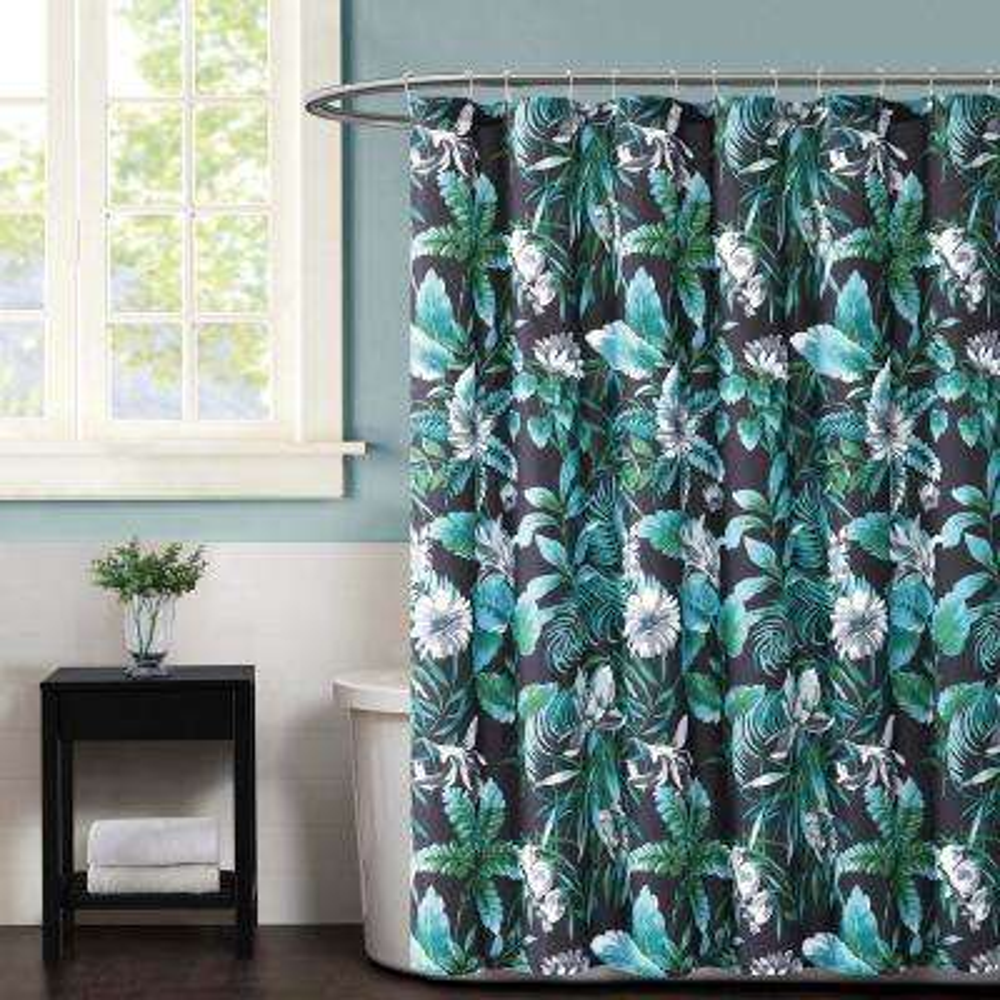 Tropicalia Black Dark Printed Shower Curtain