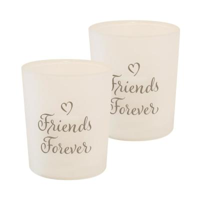 Battery Operated Glass LED Candles - Friends Forever (Set of 2)
