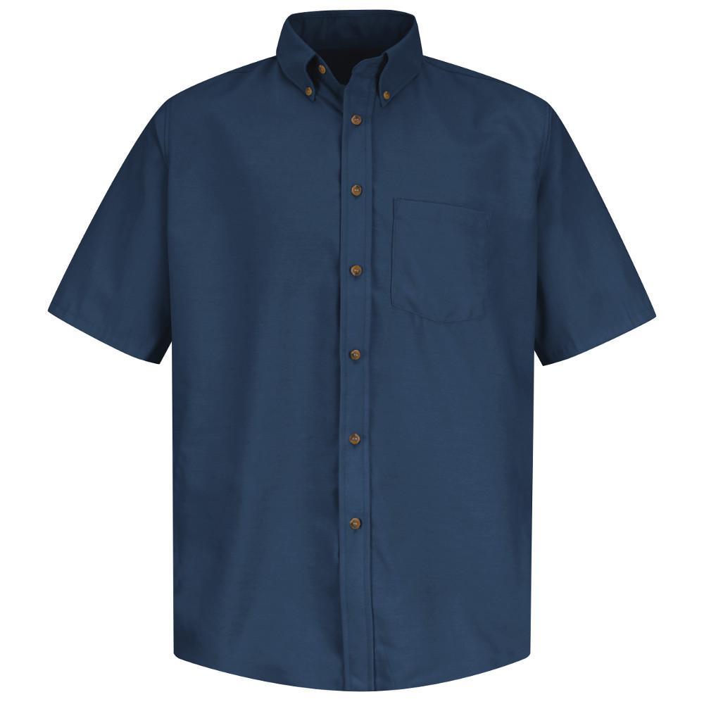 Red Kap Mens Size S Navy Poplin Dress Shirt
