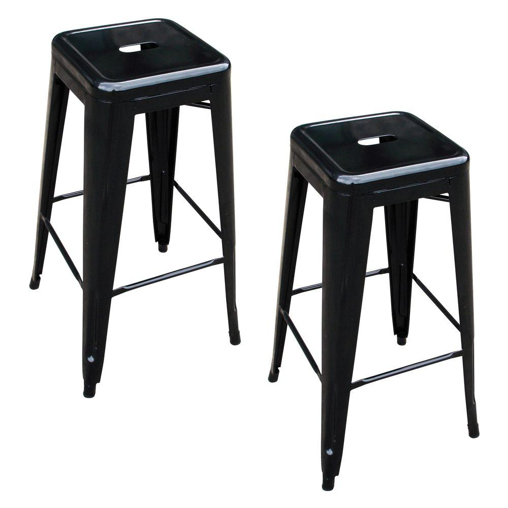 Amerihome Loft Style 30 In Stackable Metal Bar Stool In Black Set