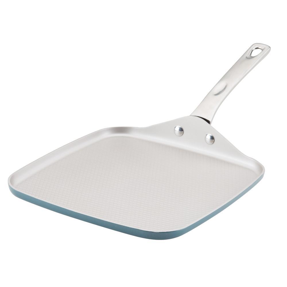 Ayesha Home Collection Porcelain Enamel Nonstick Square Griddle Pan, 11-Inch, Twilight Teal
