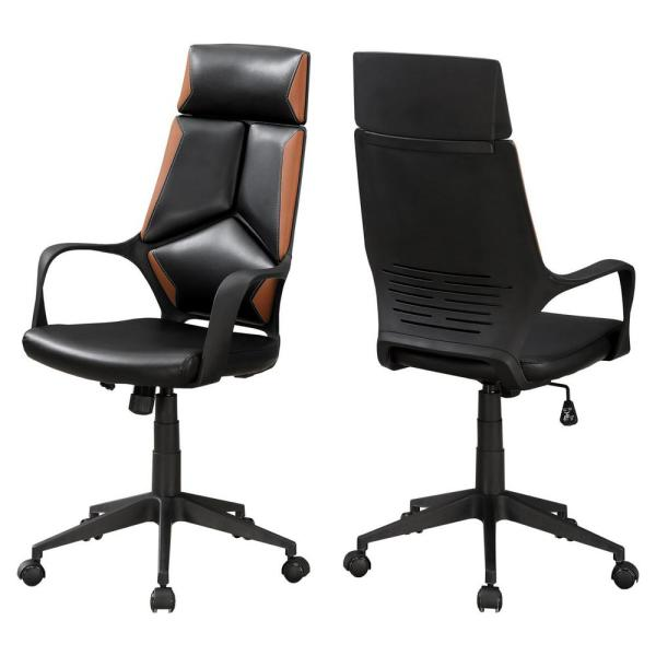 Jasmine 1-Piece Black and Brown Office Chair