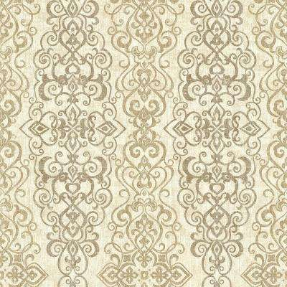 Mexuar Taupe Filigree Stripe Wallpaper Sample