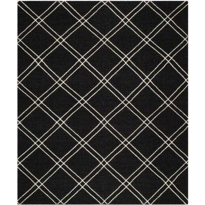 Dhurries Black/Ivory 5 ft. x 8 ft. Area Rug