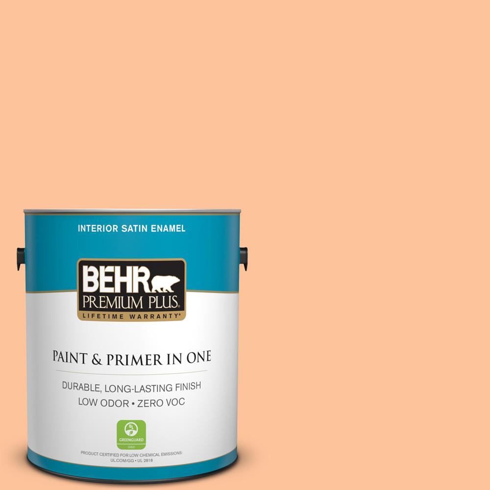 1-gal. #260B-4 Orange Sherbet Zero VOC Satin Enamel Interior Paint