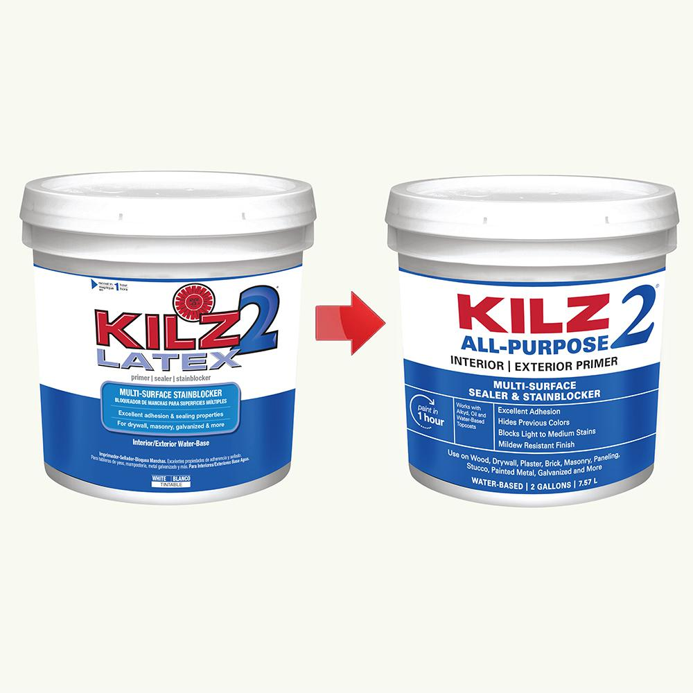 Kilz 2 All Purpose 2 Gal White Interior Exterior Multi Surface Primer Sealer And Stain Blocker 20005 The Home Depot