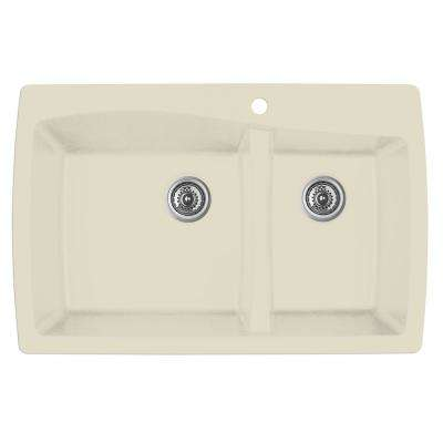 Drop-In Quartz Composite 34 in. 1-Hole 60/40 Double Bowl Kitchen Sink in Bisque