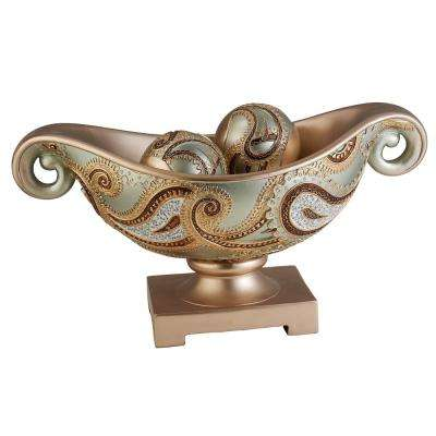 Rose Gold Aurora Paisley Polyresin Decorative Bowl With Spheres