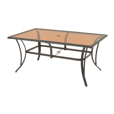 Riverbrook Espresso Brown Rectangular Glass Top Steel Outdoor Patio Dining Table