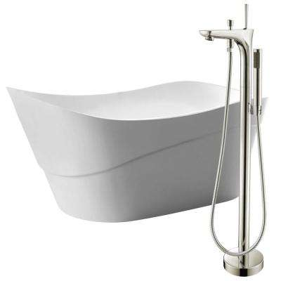 Kahl 67 in. Acrylic Flatbottom Non-Whirlpool Bathtub in White with Kase Faucet in Brushed Nickel