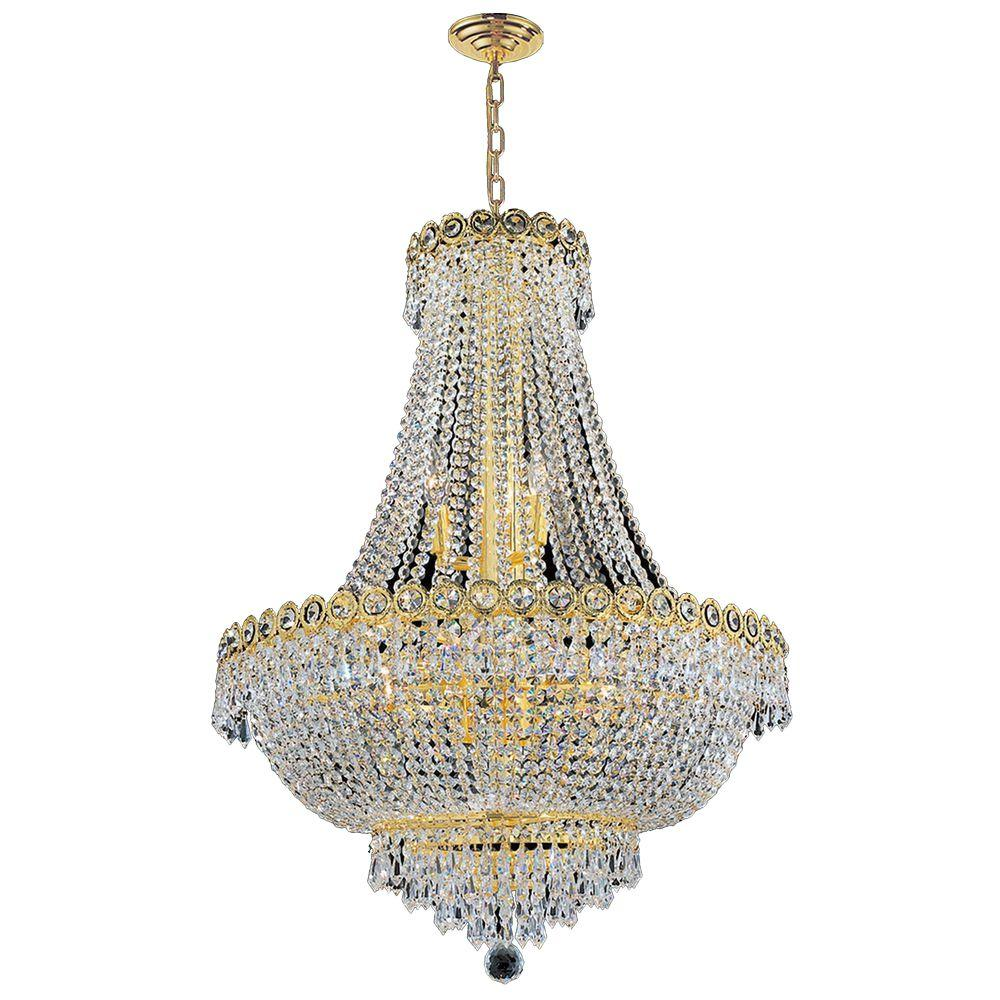 Empire 12-Light Polished Gold Chandelier with Clear Crystal