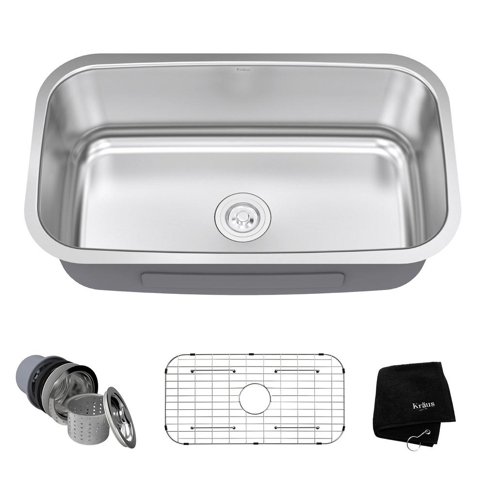 KRAUS Undermount Stainless Steel 32 in. Single Bowl Kitchen Sink Kit