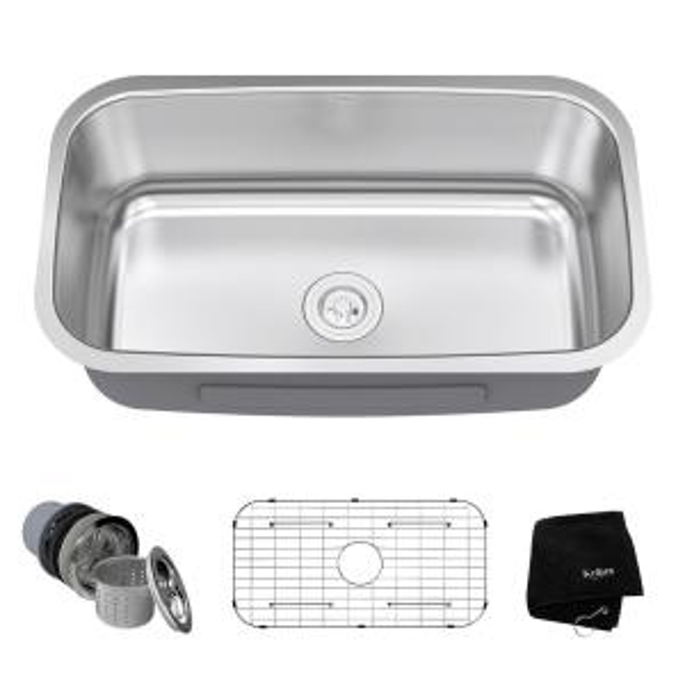 Kraus Undermount Stainless Steel 32 inch Single Bowl Kitchen Sink Kit by KRAUS