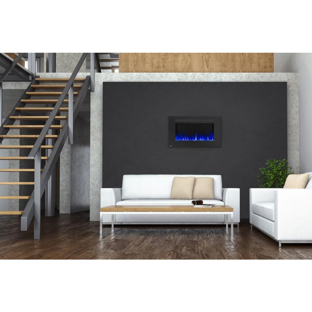 napoleon 42 in wall mount linear electric fireplace in black