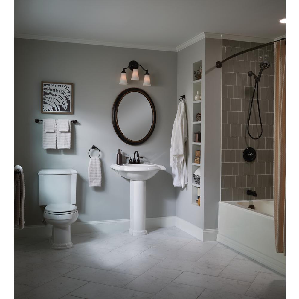 Banbury 4 in. Centerset 2-Handle Bath Faucet with 3-Piece Hardware Set in Mediterranean Bronze (18 in. Towel Bar)