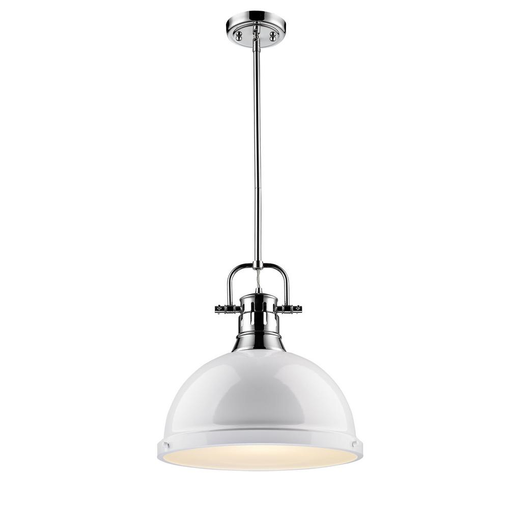 Duncan 1-Light Chrome Pendant with Rod with White Shade