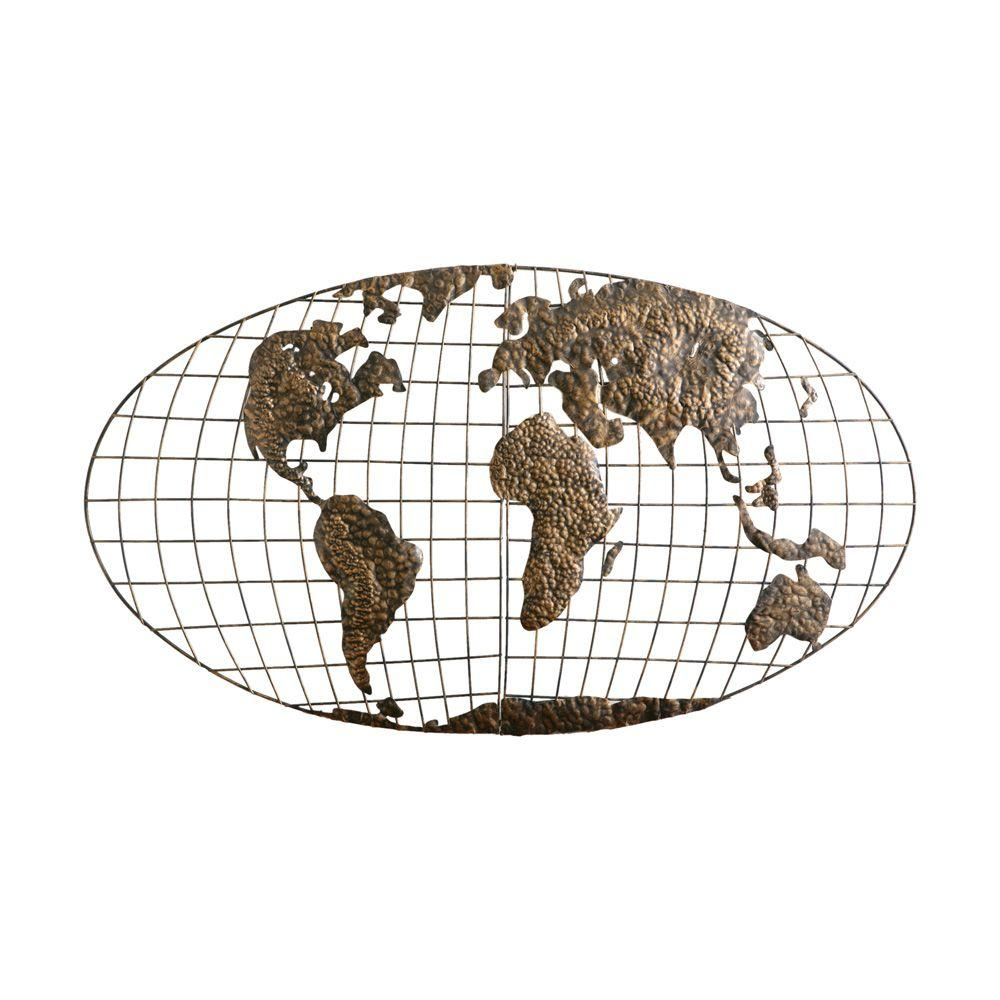 Southern Enterprises 46 in. x 25.5 in. Metal Iron World Map Wall Art