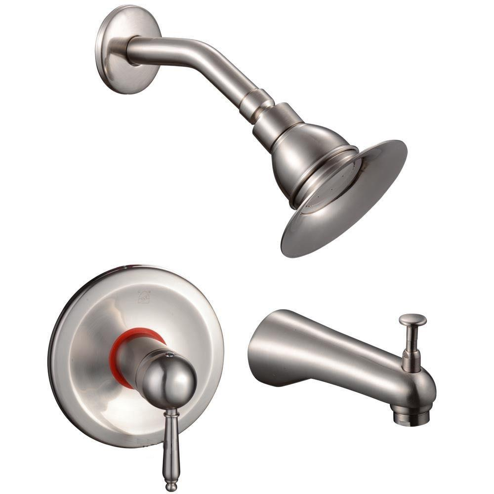 Rainfall Single-Handle 1-Spray Tub and Shower Faucet in Brushed Nickel (Valve