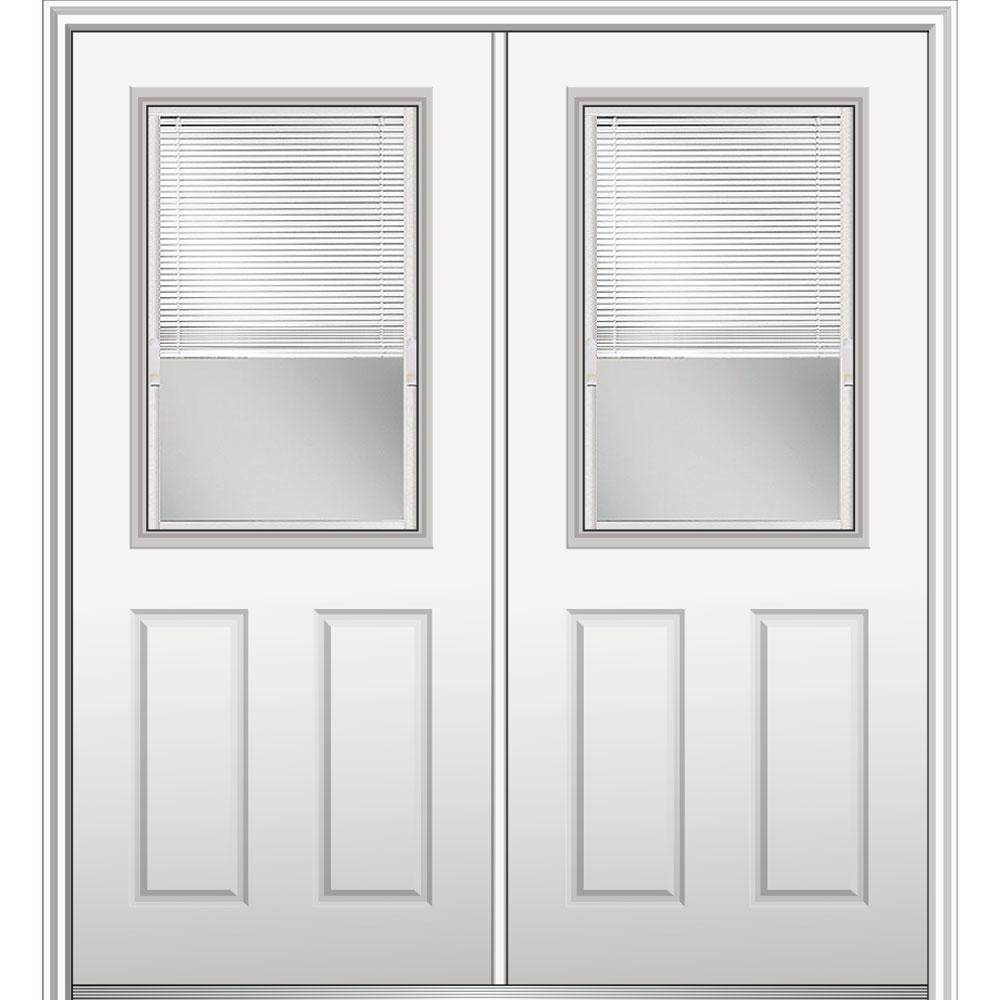 60 in. x 80 in. Internal Blinds Left-Hand 1/2-Lite 2-Panel Classic Primed Steel Prehung Front Door on 6-9/16 in. Frame