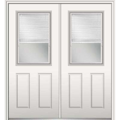 60 in. x 80 in. Internal Blinds Right-Hand Inswing 1/2-Lite Clear Glass 2-Panel Primed Steel Prehung Front Door