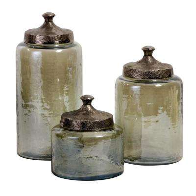Lenor 13 In. Luster Glass Decorative Canisters In Green ...