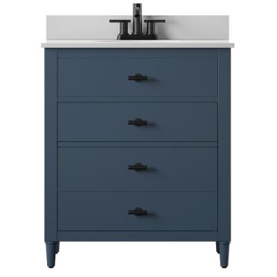 Dresser Style 30 in. Bath Vanity in Franklin Blue with Stone Vanity Top in White and White Basin
