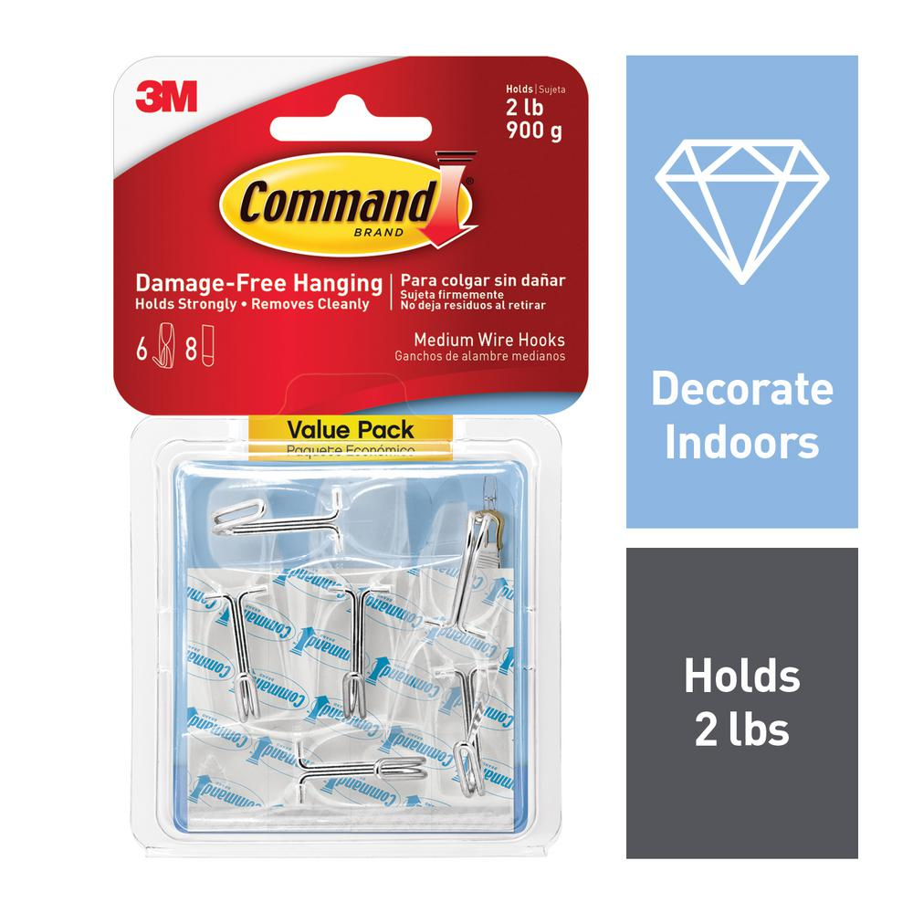 Command Medium Clear Wire Toggle Hook (6-Pack)