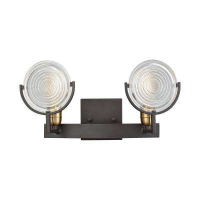 Ocular 2-Light Oil Rubbed Bronze with Satin Brass Accents and Clear Railroad Light Glass Bath Light