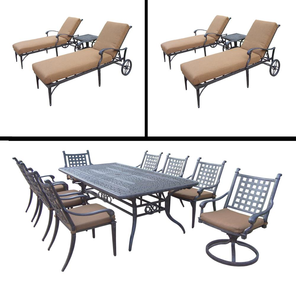 Superb Belmont Premier 12 Piece Aluminum Outdoor Dining Set With Sunbrella Brown  Cushions