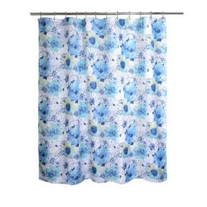 Internet 301999535 Floral Bouquet 71 In Blue And White Fabric Shower Curtain