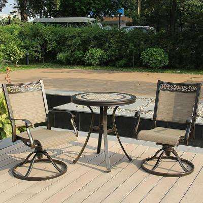 Brown 3-Piece Aluminum Sling Rocking Chair and Round 28 in. H Porcelain Tabletop Table Outdoor Bistro Set