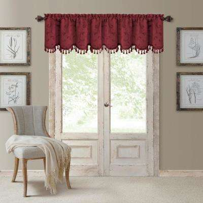 Mia 52 in. W x 19 in. L, Polyester Blackout Woven Window Curtain Drape Valance in Rouge