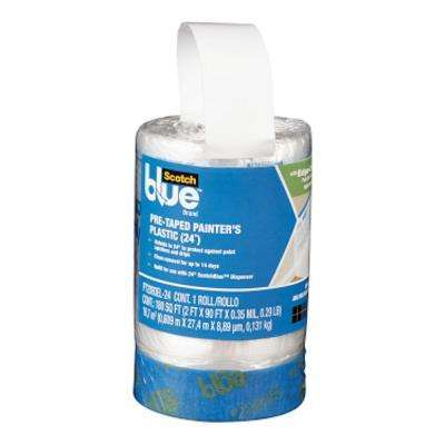 ScotchBlue 2 ft. x 90 ft. Clear Pre-Taped Painter's Plastic Sheet (Case of 6)
