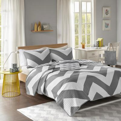Gemini 4-Piece Grey King/California King Geometric Coverlet Quilt Set