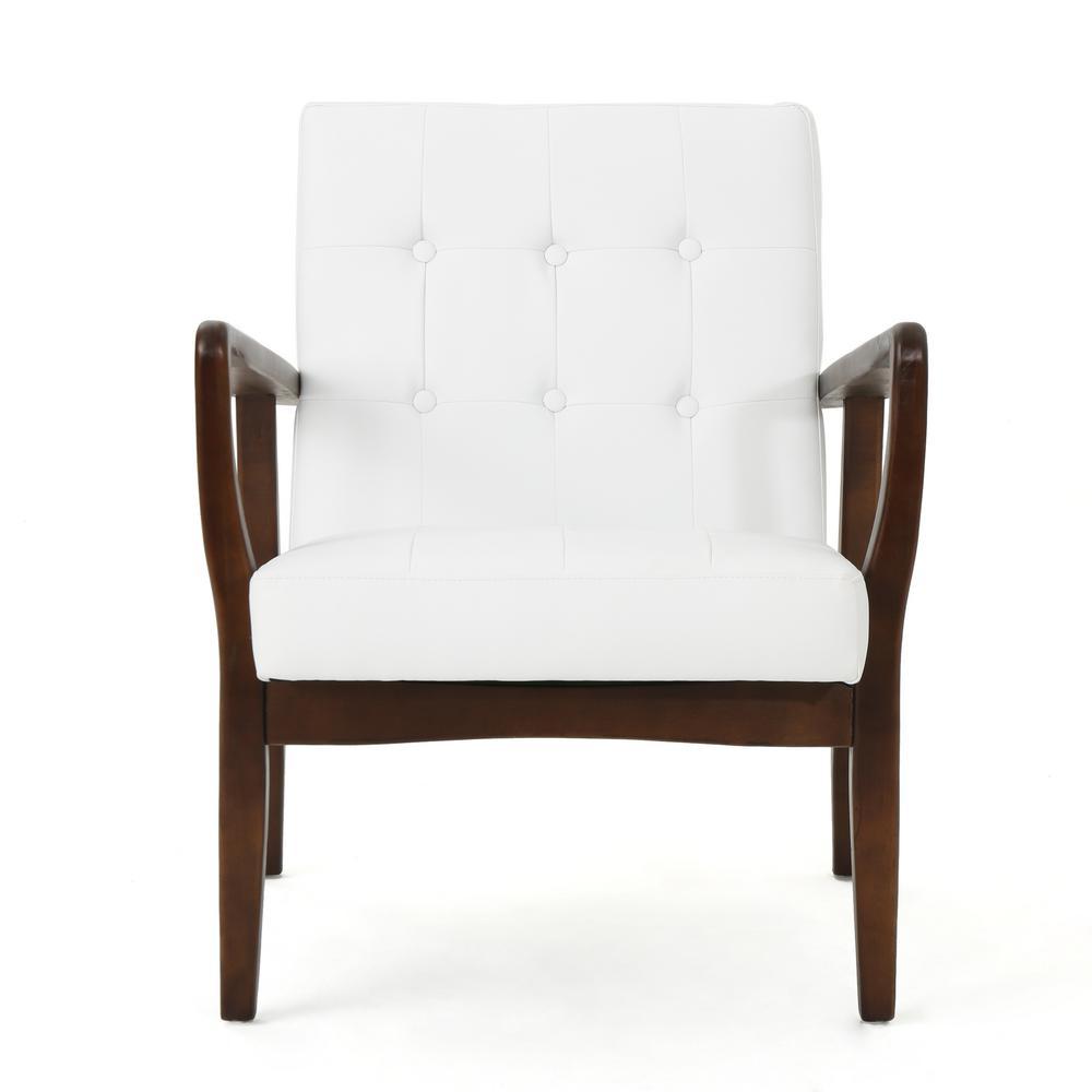 Callahan Mid Century Modern Button Back White Leather Club Chair