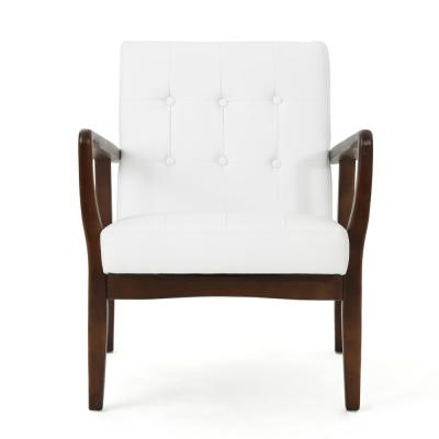 Callahan Mid-Century Modern Button Back White Leather Club Chair
