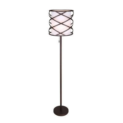 Carlina 62.5 in. Oil-Rubbed Bronze Floor Lamp with White Fabric Shade