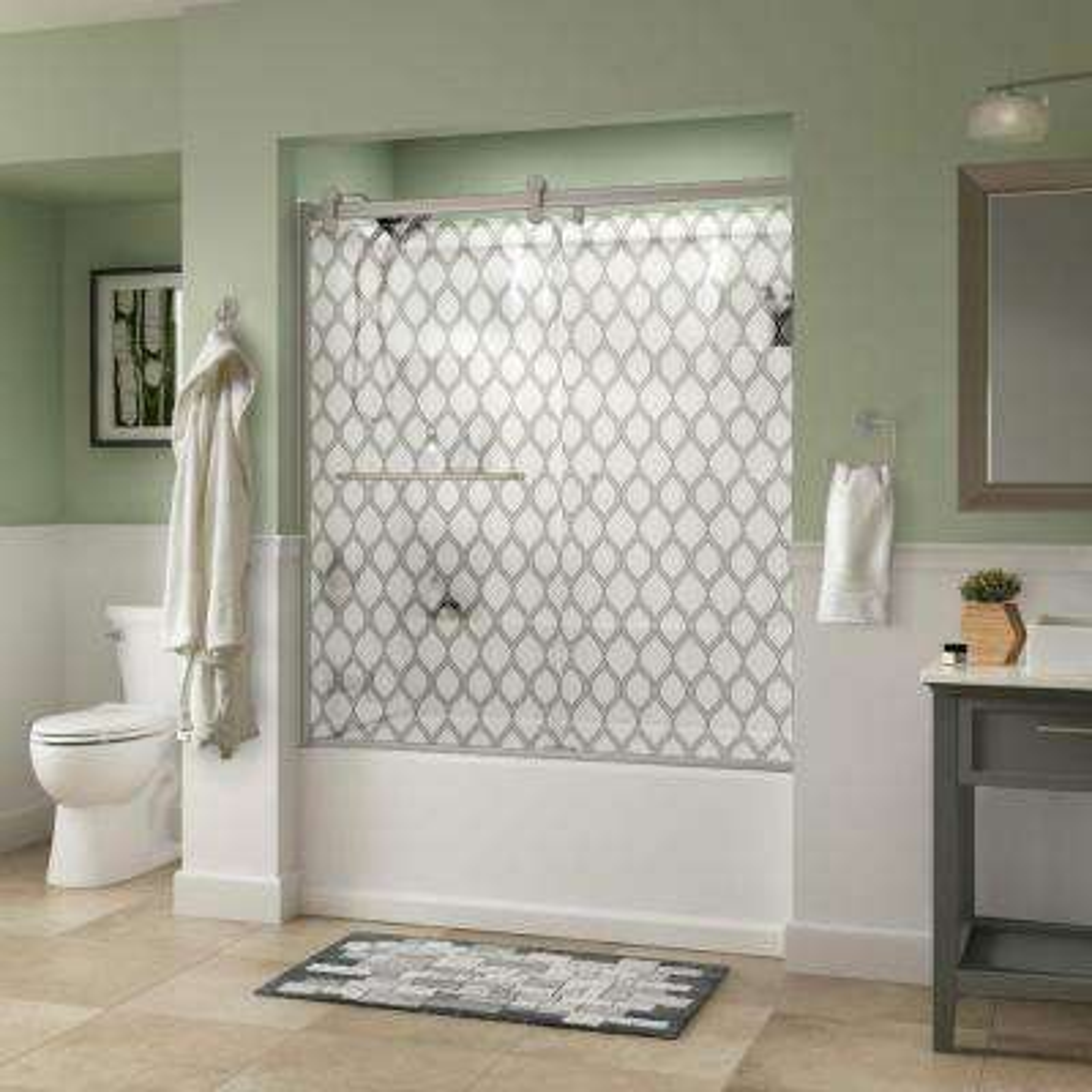 Simplicity 60 in. x 58-3/4 in. Semi-Frameless Contemporary Sliding Bathtub Door in Nickel with Ojo Glass