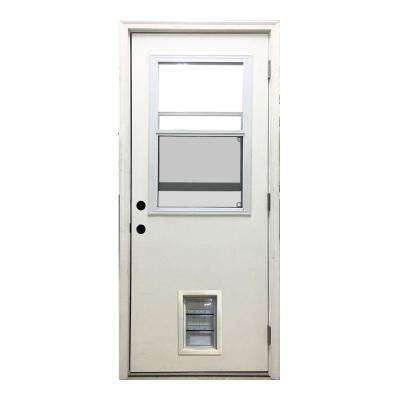32 in. x 80 in. Classic Clear Vented Half Lite LHOS White Primed Fiberglass Prehung Front Door with Med Pet Door
