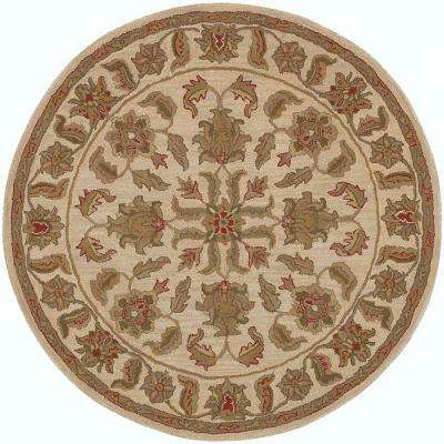 Shapes Ivory 8 ft. x 8 ft. Traditional Indoor Round Area Rug