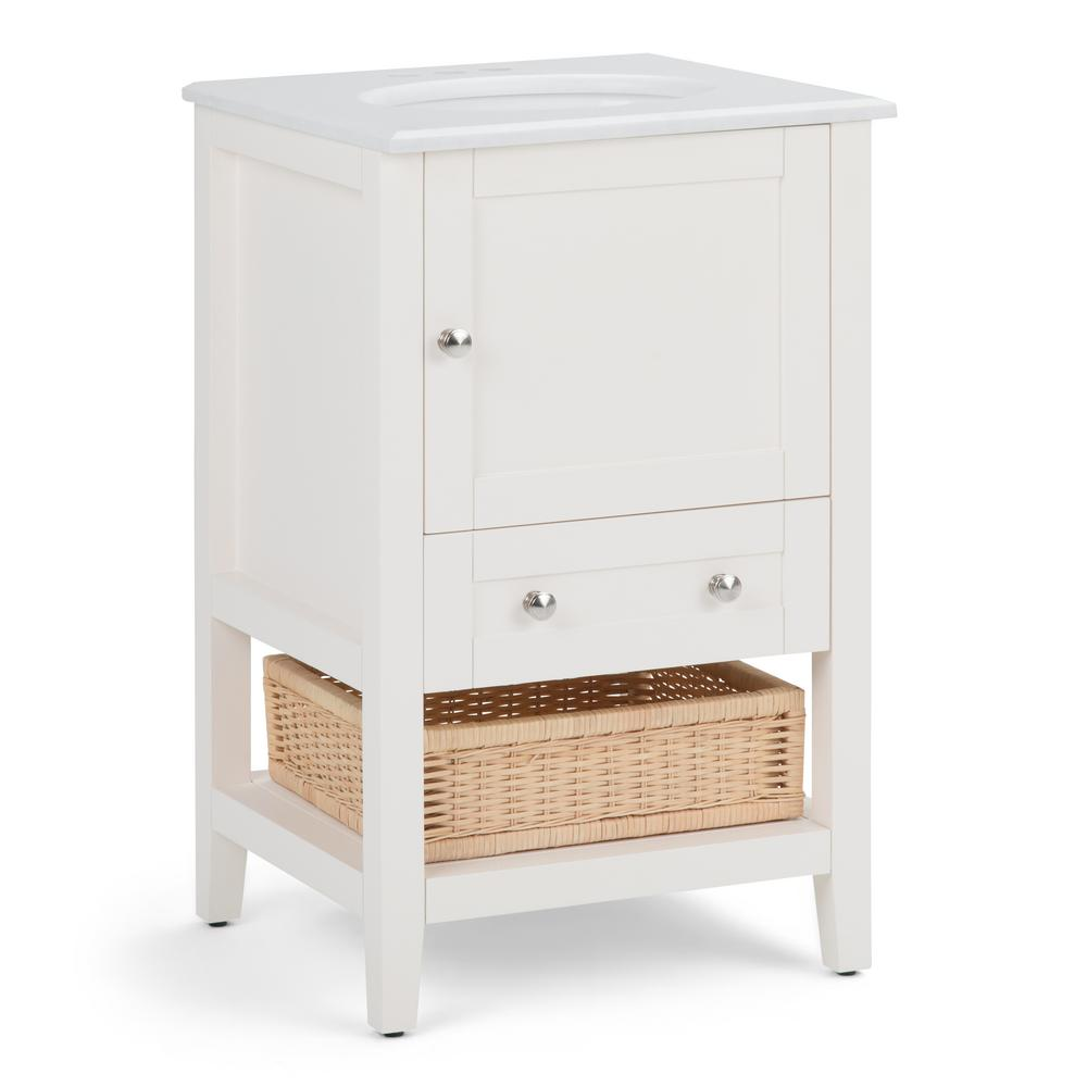 Simpli Home Cape Cod 20 in. W x 19 in. D Bath Vanity in Soft White with Quartz Marble Vanity Top in White with White Basin