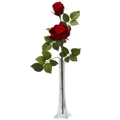 24 in. H Red Roses with Tall Bud Vase Silk Flower Arrangement