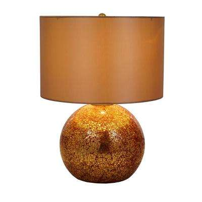20.5 in. Gold and Red Mercury Glass Table Lamp with Gold Shade