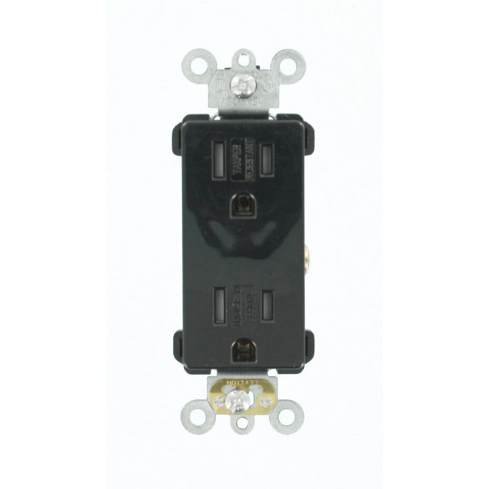 Decora Plus 15 Amp Tamper Resistant Self Grounding Duplex Outlet, Black