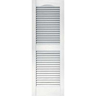 15 in. x 43 in. Louvered Vinyl Exterior Shutters Pair in #001 White
