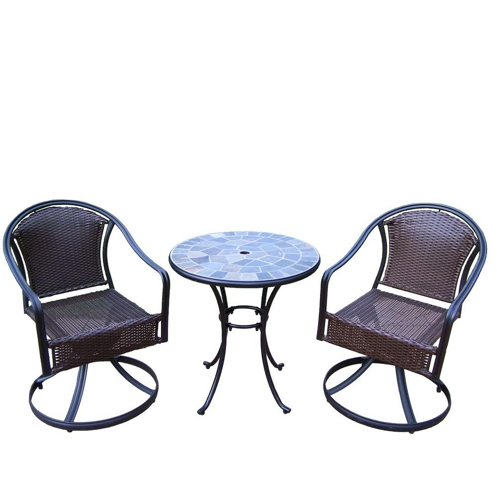 Oakland Living Stone Art Tuscany 3-Piece Patio Swivel Bistro Set ...