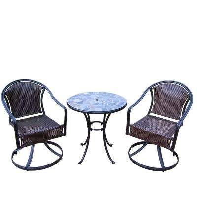 Stone Art Tuscany 3-Piece Patio Swivel Bistro Set